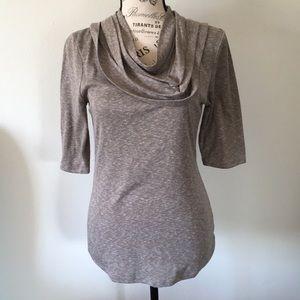 Anthropologie Deletta Tan cowl neckline Shirt Med